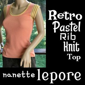 ▪️NANETTE LEPORE▪️Retro Pastel Peach Rib Knit Top